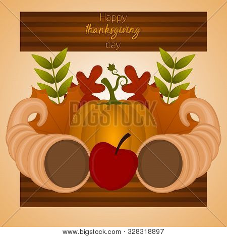 Happy Thanksgiving Day Card With A Cornucopia, Pumpkin, Apple And Leaves - Vector