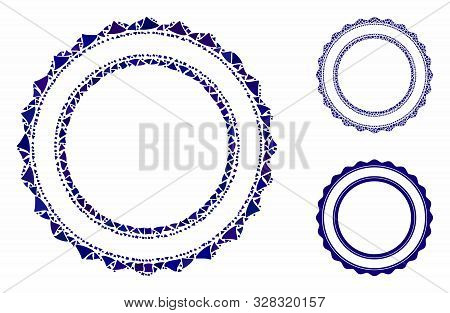 Double rosette circular frame composition of joggly elements in different sizes and color hues, based on double rosette circular frame icon. Vector joggly dots are composed into collage. poster
