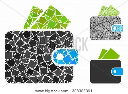 Purse Mosaic Of Tremulant Parts In Various Sizes And Color Tinges, Based On Purse Icon. Vector Irreg