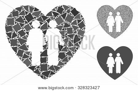 Family love heart composition of joggly items in various sizes and color tints, based on family love heart icon. Vector rugged items are grouped into composition. poster