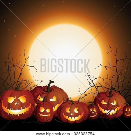 Halloween Background With Pumpkins And Moon. Night Before Halloween. Pumpkin Jack Skeleton Face. Hal
