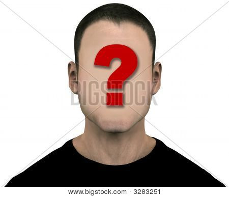 Generic anonymous unknown male with blank face. 3D illustration. Easily erase the question mark by painting over it with the flesh color. Includes clipping paths. poster