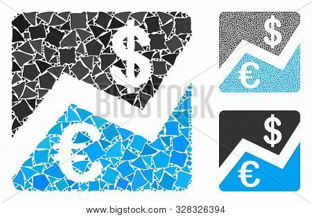 Euro And Dollar Finance Mosaic Of Bumpy Pieces In Various Sizes And Color Hues, Based On Euro And Do