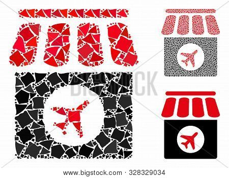 Duty Free Shop Mosaic Of Bumpy Parts In Different Sizes And Color Hues, Based On Duty Free Shop Icon