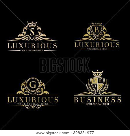 Set Of Vector Elements In Style Of Luxury Flourish. Luxury Logo Template In Vector For Restaurant, R