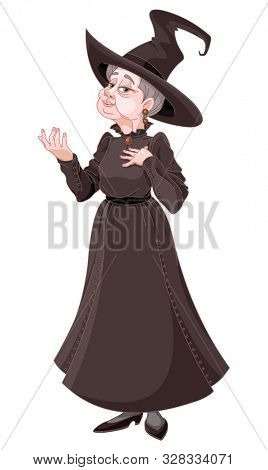 Illustration of cute Halloween Witch
