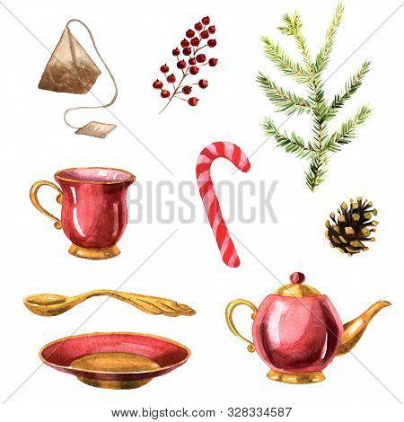 Watercolor Hand-drawn Tea Set With Teapot, Teacup, Saucer, Teaspoon, Tea Bag, Red Candy And Christma
