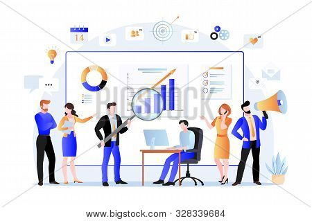 Project Managers, Business Marketers Analyzes Data, Develops Product Promotion Strategy In Social Ne