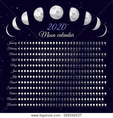 Lunar Cycles At 2020 Year. Moon Phases Calendar Vector Illustration. Dates For Full, New Moon And Ev