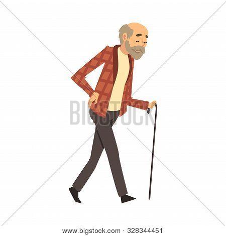 Old Man Walks With A Cane Cartoon Vector Illustration
