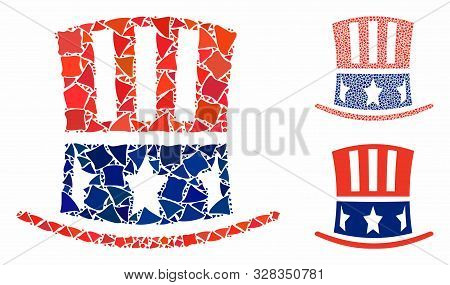 Uncle Sam Hat Composition Of Bumpy Elements In Different Sizes And Color Hues, Based On Uncle Sam Ha