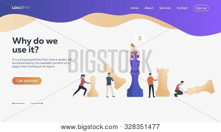 Business People Playing Chess. Chessman, Money, Bargain. Efficiency Concept. Vector Illustration Can