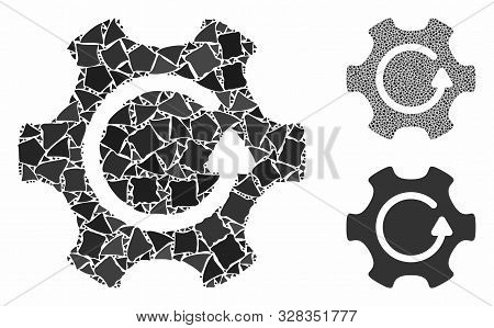 Rotate Gear Composition Of Bumpy Parts In Different Sizes And Shades, Based On Rotate Gear Icon. Vec