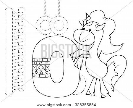 Letter O And Funny Cartoon Unicorn. Animals Alphabet A-z. Coloring Page. Printable Worksheet. Handwr