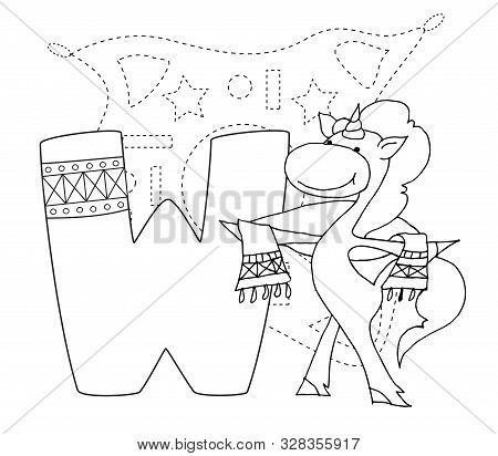 Letter W And Funny Cartoon Unicorn. Animals Alphabet A-z. Coloring Page. Printable Worksheet. Handwr