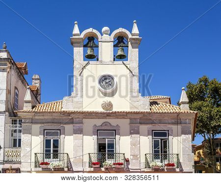 Cascais - August 14, 2019: View Of The Double Bell Clock Tower In The Municipality Centre Of The Cha