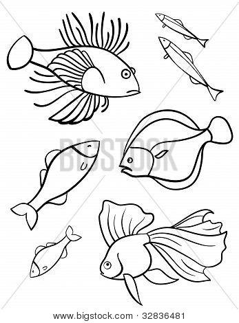 Fishes a set of vector illustration symbols.