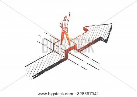 Business Opportunity, Obstacles Overcoming Concept Sketch. Businessman Character Potential And Aspir