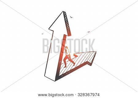 Business Opportunity, Problem Solution Concept Sketch. Businessman Character Motivation And Aspirati