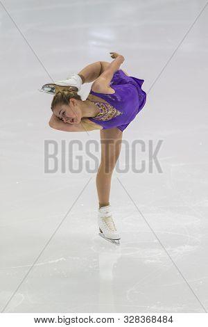 Minsk, Belarus -october 17, 2019: Figure Skater Maryna Zhdanovich From Ukraine Performs Junior Ladie