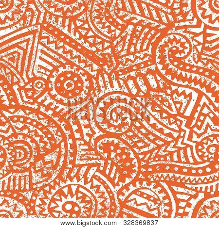Seamless Patchwork Ornament. Ethnic And Tribal Motifs. White And Orange Colors. Grunge Vintage Textu