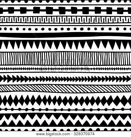 Seamless Ethnic Pattern. Handmade. Horizontal Stripes. Black And White Print For Your Textiles.