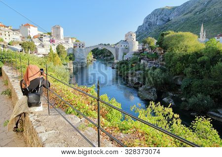 The City Of Mostar Viewed From Koski Mehmed Pasha Mosque, With The Old Bridge (stari Most), The Nere