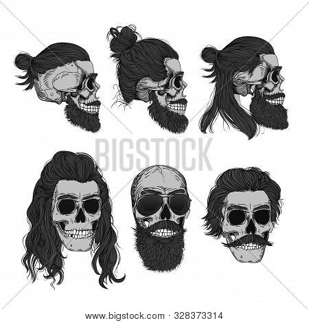 Monochrome Bearded Male Skulls With A Stylish Haircut, Beard And Mustache. Picture For Halloween, Ba