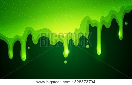 Vector Illustration Of Dribble Slime. Flowing Green Sticky Liquid On Dark Background.