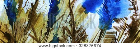 Abstract Sketchy Watercolor Background. Lines, Spots, Strokes Natural Buffy-earth Colors. Bright Blu