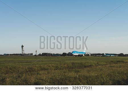 Amsterdam, Schiphol Airport, The Netherlands, 09/20/2019, Klm Plane Is Ready To Take Off From The Ru