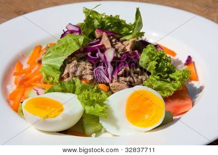 Vegetable salad with tuna fish closeup on the plate poster