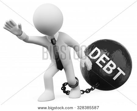 3d White People Illustration. Businessman Dragging His Debts. Isolated White Background.