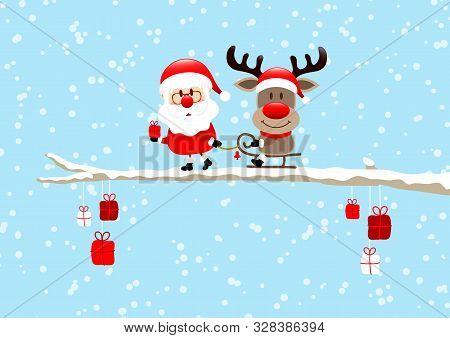 Santa Pulling Sleigh With Reindeer On Bough Light Blue
