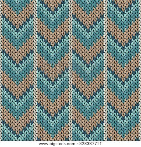 Woolen Downward Arrow Lines Knitted Texture Geometric Seamless Pattern. Scarf Knitwear Fabric Print.
