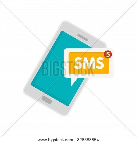 Smartphone Sms Icon. Flat Illustration Of Smartphone Sms Vector Icon For Web Design
