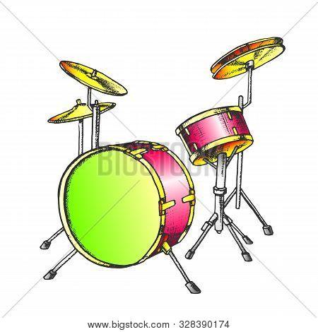 Drum Rhythm Musical Instrument Color Vector. Music Concert Element Rhythmic Drum. Rock Festival Drum