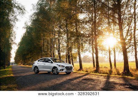 Polack, Belarus - September 9, 2018 : Urban Car Hyundai Accent Varna Or Solaris 2017 On Country Road