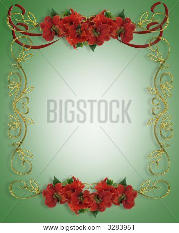 Christmas Border Poinsettias Frame Illustration