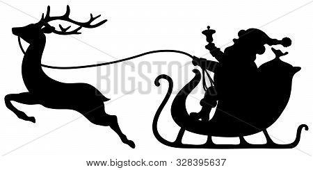 Black Santa Claus In Sleigh Single Reindeer