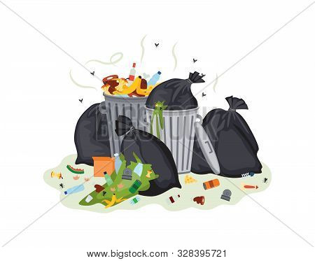 Garbage Bags And Waste Cans Stinking Flat Cartoon Vector Illustration Isolated.