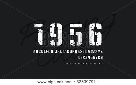 Stencil-plate Sans Serif Font In Military Style. Letters And Numbers With Vintage Texture For Logo A