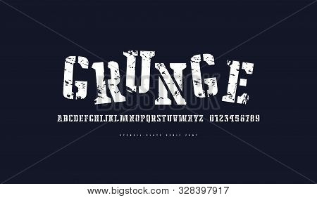 Stencil-plate Serif Font. Letters And Numbers With Vintage Texture For Logo And Emblem Design. White