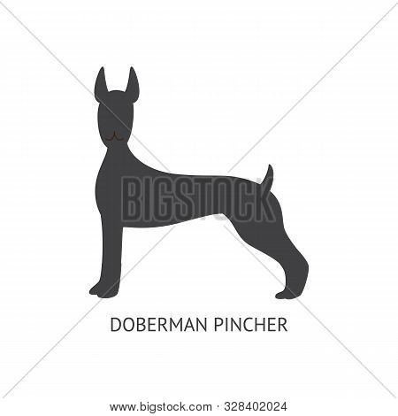 Black Silhouette Of A Dog Of The Doberman Pinscher Breed, Animal And Pet Concept.