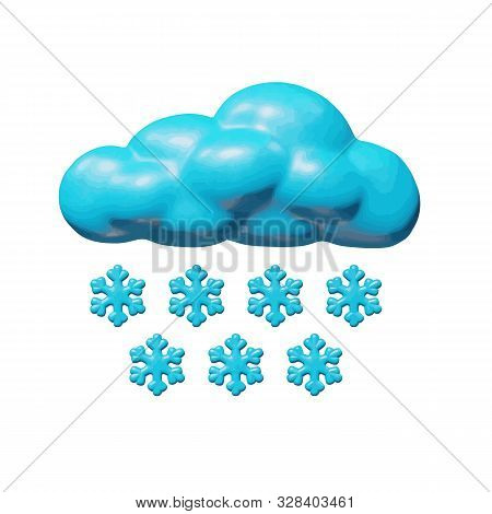 Weather Vector Illustration Of Web For Climate - Plastic Stormy Cloud With Blue Snowflakes. Shiny Is