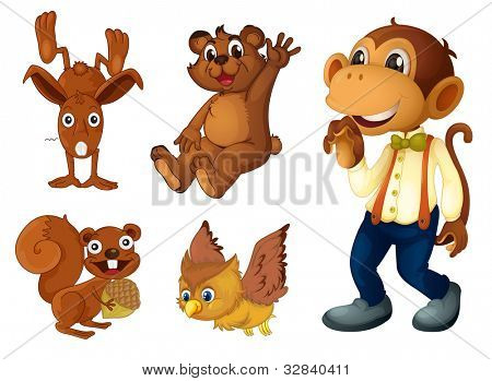 Collection of brown animals on white - EPS VECTOR format also available in my portfolio.