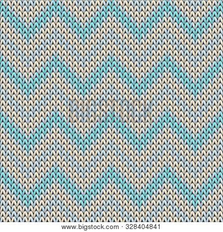 Handicraft Chevron Stripes Knitted Texture Geometric Seamless Pattern. Fair Isle Sweater Knitwear St