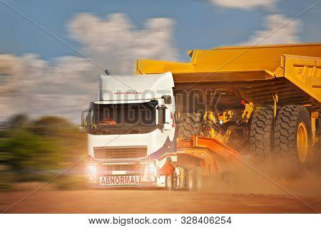 Heavy duty truck abnormal haulage carry mining truck used in diamond mines in Africa, Botswana