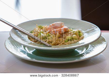 Homemade Italian Spaghetti With Prawn And Cream