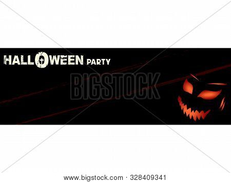Halloween Party Invite Blank Copy Space Banner In Black With Grunge Effect Decorative Text And Spook